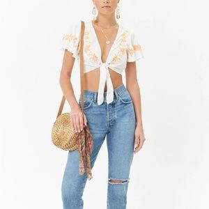 Forever 21 Tops - FOREVER 21 - NEW! Embroidered Tie-Front Crop Top